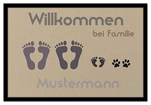 Individuell bedruckte Fußmatte - 'Fussabdruck' in 2 Größen waschbar bei 40°, Größe der Fußmatte:40 x 60 cm