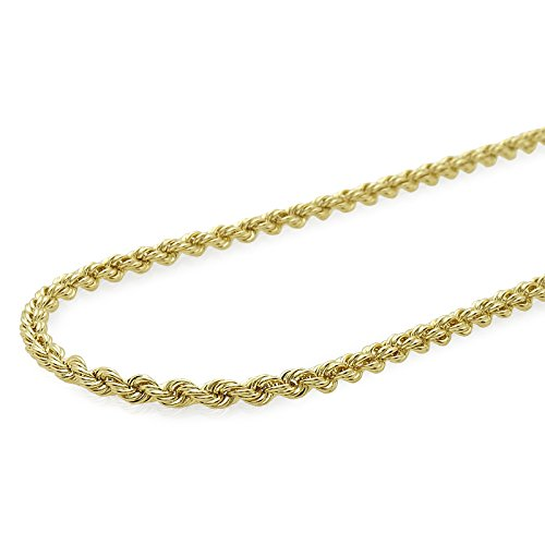 Verona Jewelers 10K Gold 2.5MM Diamond Cut Rope Chain Necklace for Men and Women- Braided Twist Chain Necklace 10K Necklace, 10K Gold Chain (24)