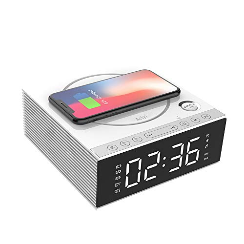 Wireless Charging Alarm Clock Bluetooth Speaker with Remote Control,FM Radio,USB Port,TF-Card,AUX-in,Snooze,LED Display,Hands-Free Calls and DIY Ringtone for Bedroom(Color:White)