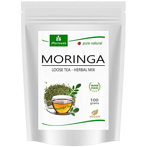 Té de Moringa 100% natural y vegano (opcionalmente, mezcla de hojas de Moringa, manzana-canela, granada, jengibre, menta). 1A Calidad (diferentes variedades)
