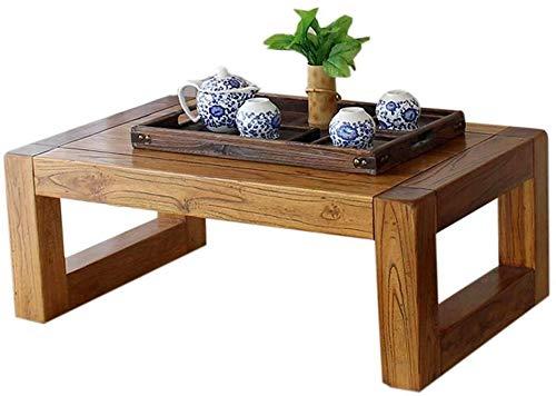 AZHom Massivholz-Low Table Weinlese-Elm Teetisch Massivholz-Tisch Japanische Tezeremonietabelle Tatami Bay Fenster, Balkon, Couchtisch Zen Beistelltisch (Farbe: 50X40X28CM) (Color : 50x40x28cm)