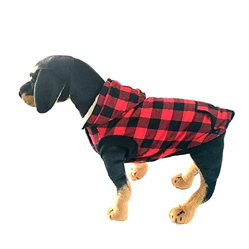 Amphia - Hundebekleidung T-Shirt,Warme Baumwollmantel mit Abnehmbarer Kappe für Hundekleidung - Stilvolle Hund Winter weiche warme Mantel Puppy Fleece Jacke Kleidung(Rot,XXXL)