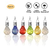 pearlstar Solar Light Bulbs Outdoor Waterproof Garden Camping Hanging LED Light Lamp Bulb Globe Hanging Lights for Home Yard Christmas Party Holiday Decorations (6 Pack-Solar Light Bulbs)