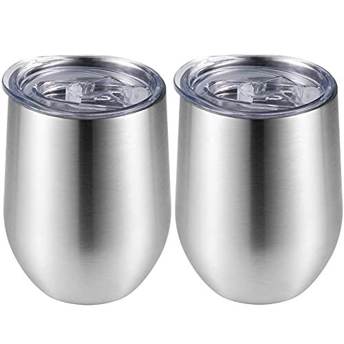 ANEWISH 2er Set Kaffeetasse mit Deckel, Weinglas aus Edelstahl, 12 oz Vakuum Isoliertes Thermoskanne,Doppelschichtiger Reisebecher für Champagner,Wein, Tee, Saft, Milch