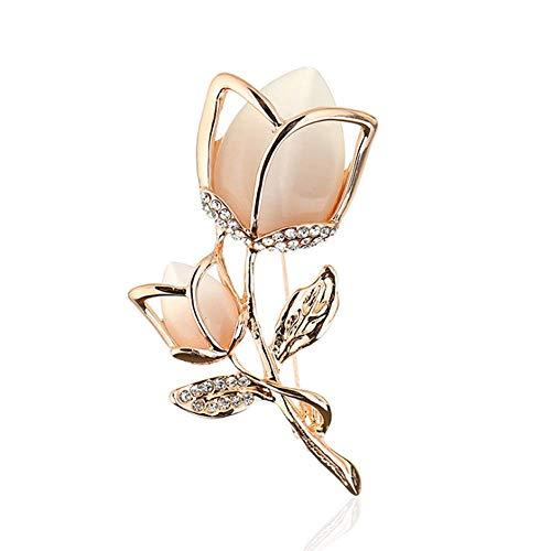 HSQYJ Broche de Cristal Creado con Diamantes de imitación de Cristal, Flor Rosa, Pin de Moda para Mujeres y niñas, Regalo Elegante (Dorado)