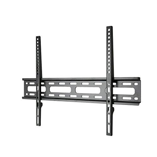 Wandbeugels Ultra-dunne wandgemonteerde tv-kast, 37-65-inch tv-rek, koudgewalst stalen tv-kabinet, zwarte plafondsteunen