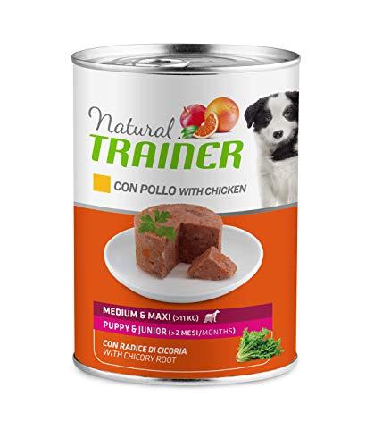Trainer Natural Medium Maxi Puppy & Junior Cibo Umido per Cani con Pollo, 12 x 400G - 3.6 kg