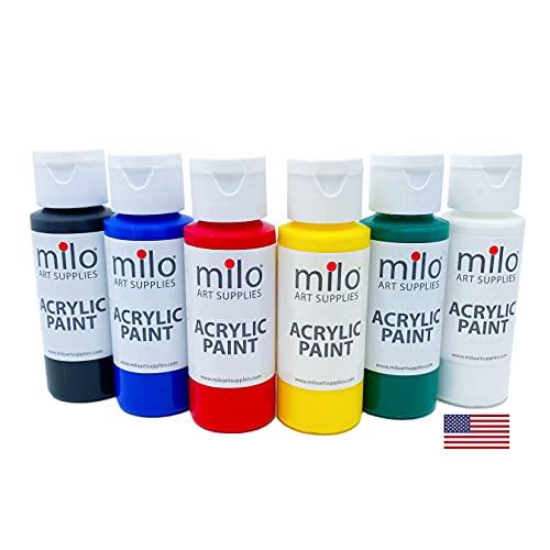 milo Acrylic Paint Set of 6 Colors   2 oz Bottles   Student Primary Colors...