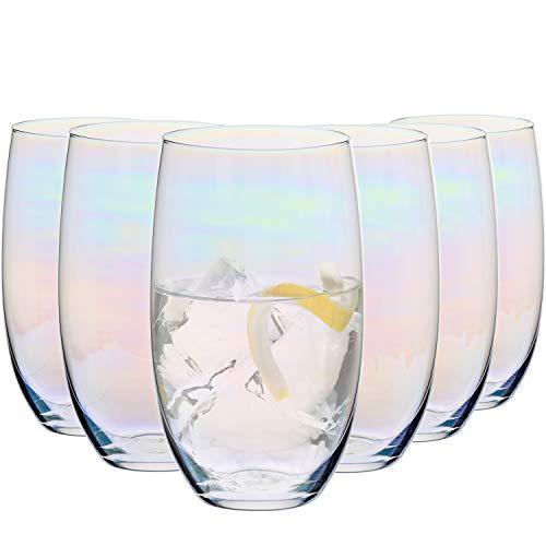Krosno Getränke Glas Schimmer Wassergläser Gläser mit Regenbogeneffekt   Set von 6   510 ML   Blended Kollektion   Perfekt für zu Hause, Restaurants und Partys
