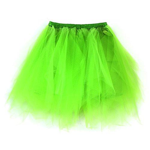 VEMOW Cosplay Kurzer Rock Elegante Damen Unterrock Petticoat Underskirt Hohe Qualität Gefaltete Gaze Rock Erwachsene Tutu Tanzen Rock(X1-Minzgrün, Einheitsgröße)