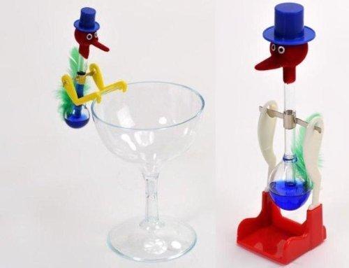 ドリンキングバード 水飲み鳥 平和鳥 スタンダー ドタイプ &  ミニタイプ & グラス 3点セット ブルー