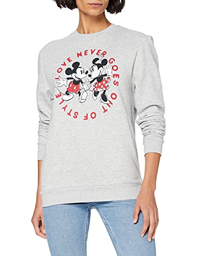Disney Mickey and Minnie Love Never Goes out of Style Sweatshirt Sudadera, Gris (Heather Grey HGY), 38 (Talla del Fabricante: Small) para Mujer