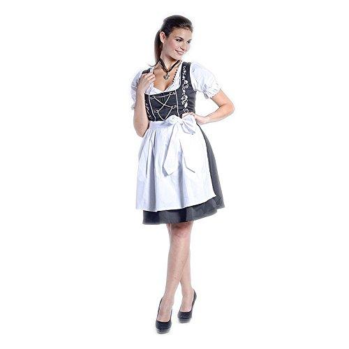 baratos y buenos El mini vestido regional de Emma Schwartz con hermosas decoraciones blancas como blusas y delantales … calidad