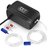 UPMCT Aquarium Air Pump with Dual Outlet Adjustable Air Valve, Ultra Silent Oxygen Air Pump with Accessories Air Stones Silicone Tube Check Valves, Suitable for 1- 80 Gallon Tank (5 L/min)