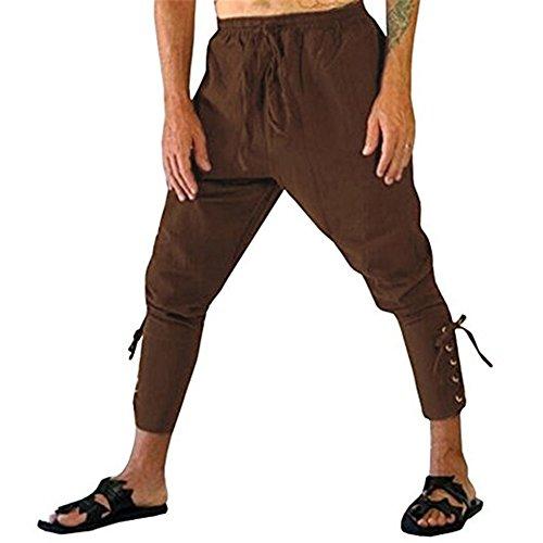 Hombres Retro Shorts Medievales Lace-up Pantalones Cintura Elástica Suelto Shorts Gótico Steampunk Pantalones Casuales Color Sólido Tamaño Grande Capri Pantalones 2 Estilos