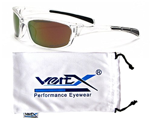 VertX Men's Polarized Sunglasses Sport Cycling Running w/Free Microfiber Pouch – Clear Frame – Orange Lens