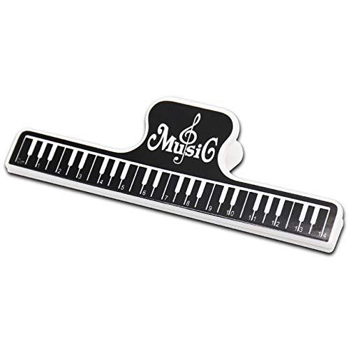 ABMBERTK Clip fisse per partitura Musicale in plastica da 15 cm, Supporto per Libro, per Chitarra Violino Pianoforte Clip per File da Ufficio Forniture per Ufficio, Nero