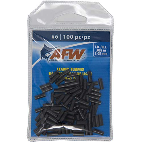 AFW Size 6 100 pc American Fishing Wire Single Barrel Copper Crimp Sleeves Leader