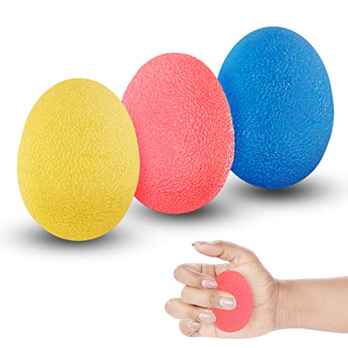 Kurtzy Handtherapie-Bälle (3-er) - Silikon Eiförmige Griffbälle zum Stressabbau Fingertherapie Trainingsbälle mit 3 Widerstandsstufen zur verringern der Muskelspannung, Linderung von Gelenkschmerzen