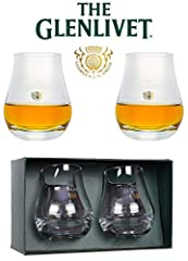 "Set of 2 Brand New Authentic Glenlivet Glasses Base Diameter 2 1/4"" - Upper Diameter 2 1/8"" Each Glass is 3 3/4"" High Net Weight Each 12 oz Pear Shaped to Deliver Aroma"