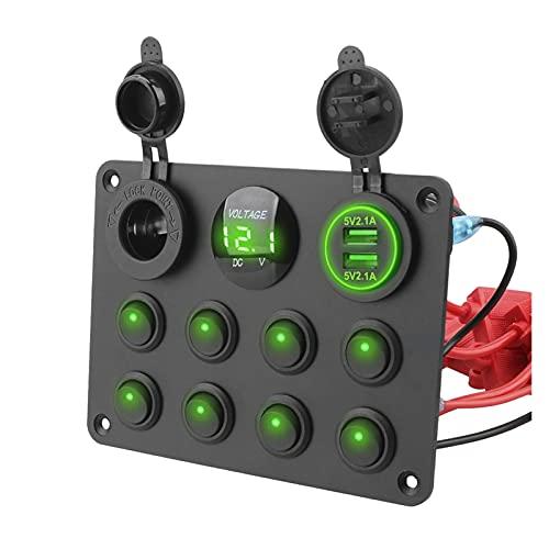 JIAQING 8 Coche de pandillas Marina LED Rocker Interruptor Panel Impermeable Voltímetro Digital Voltímetro Dual USB Puerto 12-24V Luz de Cigarrillo (Color : Green)