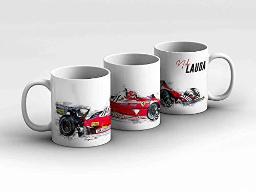 gasoline.gallery Formel 1 Tasse - Niki Lauda - Scuderia Ferrari - 1977 - Silhouette rot Kaffeebecher