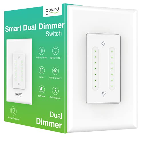 Smart Dimmer Switch, Smart Dual Dimmer Dual Switch WiFi Smart Light Switch Compatible with Alexa and Google Home, Timer, Remote and Voice Control, Single-Pole, Neutral Wire Required (1 Pack)