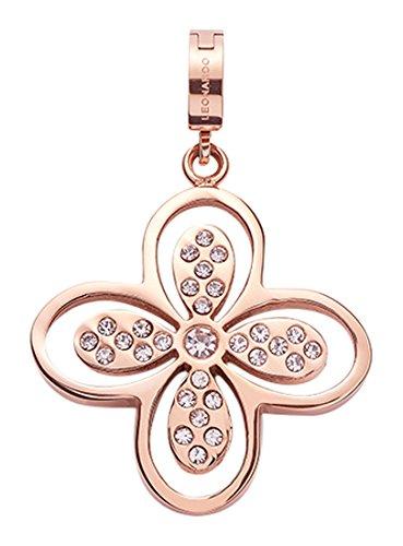 Jewels by Leonardo Damen-Anhänger & Anhängerclips Vera Darlin's Edelstahl Glas klar roségold Clipverschluss Blume Blüte 016531