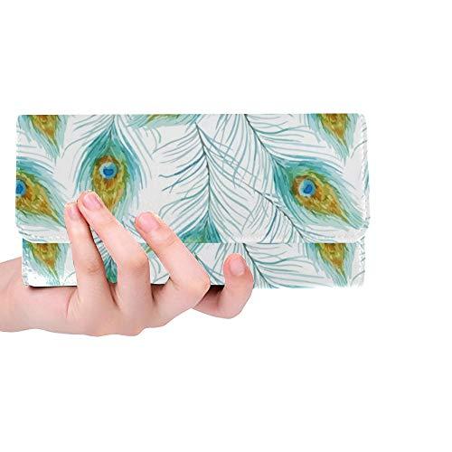 Einzigartige benutzerdefinierte Stift Pfau Tapete Frauen Trifold Wallet Lange Geldbörse Kreditkarteninhaber Fall Handtasche