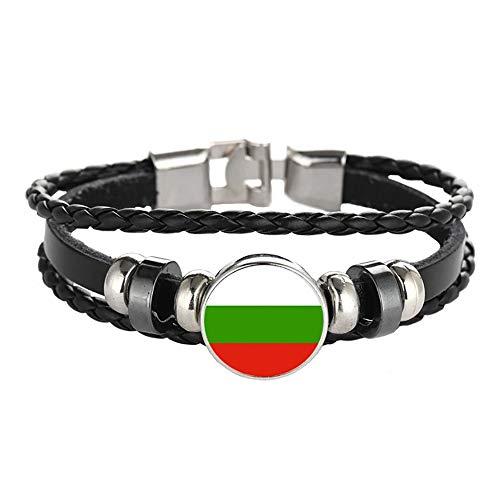 Wedare Souvenir Bandera de Bulgaria Pulsera Trenzada Cadena de Cuero Pulsera de Cristal Recuerdo, Pulsera Hecha a Mano de Moda para Hombre y Mujer día