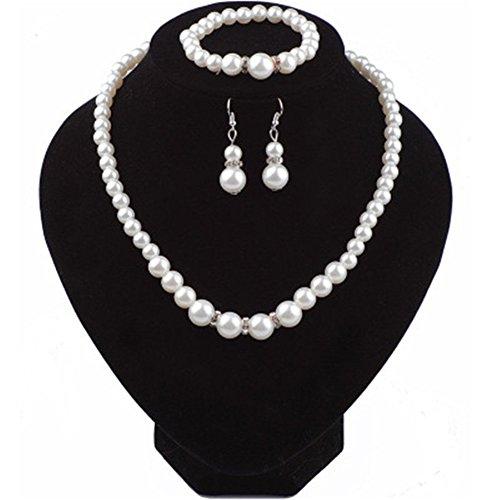 Rurah Jewelry Set for Women Faux Pearl Silver Necklace Earrings Bracelet Set for Women Dangle Party Wedding