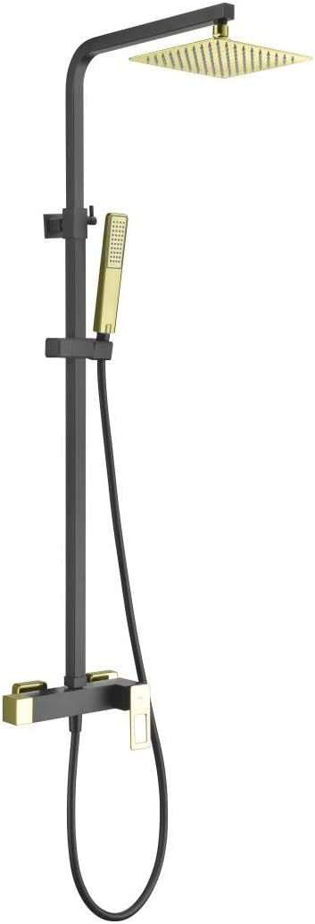 Conjunto ducha con barra extensible Antical Imex Suecia Negro Mate, Oro Brillo BDC032-NGOLD