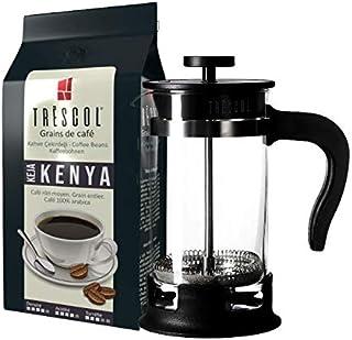 Trescol Kenya French Press Öğütülmüş Kahve 250 Gr + 1 Litre French Press Çelik Cam Karaf