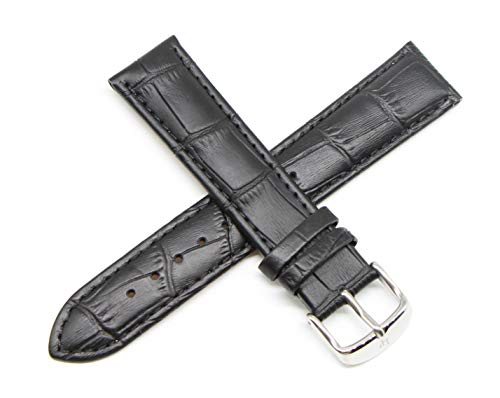 Lucien Piccard 20MM Alligator Grain Genuine Leather Watch Strap 8 Inches Black Silver Fits Excalibur