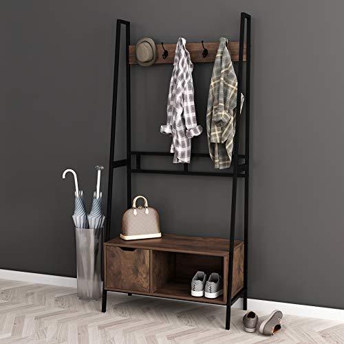NA Nutmeg Brown Finish Black Frame Entryway Hall Tree Coat Hanger Shoe Rack Storage Bench with 5 Hooks