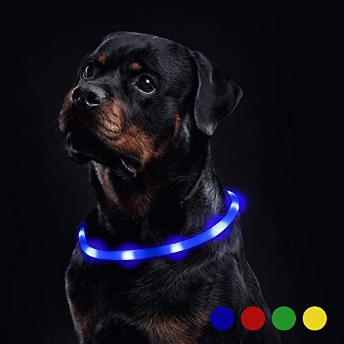 Toozey Luminoso Collares para Perro LED Durante 20 Horas de Luz Continua Impermeable, USB Recargable Cortable Tira de Luz para Collar de Perro de Seguridad Nocturna - 3 Modo (Azul)