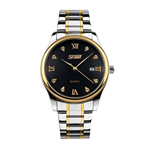 Fashion Business Men in The Atmosphere Water Resistant Watch/UK Wind Steel Quartz Diamond Watch-C
