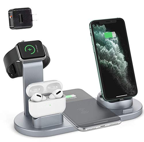 Cargador inalambrico soporte,Estación de Carga Inalámbrica,Base de Carga 6 en 1 para Apple Watch y Airpods, Soporte Base de Carga para iPhone AirPods Apple Watch, Estación de Cargador Inalámbrico Rápido Qi para iPhone 8 X XR XS y Samsung Note8 S8 S9 iWatch Air Pods 1/2/airpods pro (Gris)