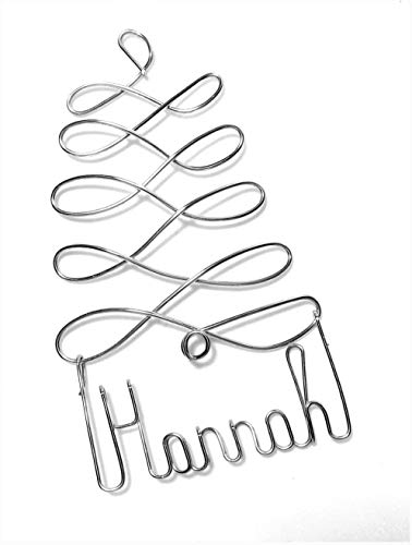Personalized Christmas Ornament Silver Tree Any Name Designed Up to 9 Letters, Gift Name Tag, Custom Name Tree Ornament, Personalized Holiday Ornament