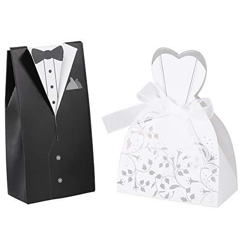 100 piezas de favores de boda para invitados, cajas de dulces, vestido...