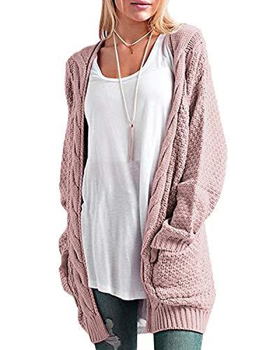 CNFIO Pullover Damen Strickjacke Lässig Casual Cardigan Langarm Outwear mit Taschen Mantel Jacke Winter rosa M
