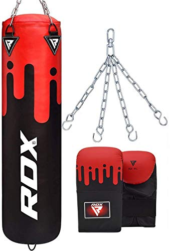 RDX Punching Bag UNFILLED Set Muay Thai MMA Training Gloves with Punch Mitts Hanging Chain, Great for Kick Boxing, Martial Arts, Available in 4FT 5FT