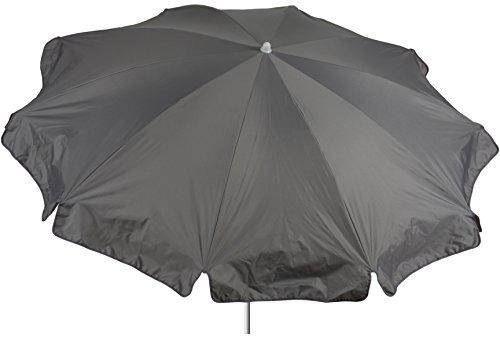 acamp Gartenschirm wasserabweisend Marktschirm Sonnenschirm 200 cm in grau knickbar Bespannung 100% Polyester wasserabweisend