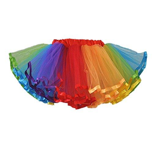 Girls 4-Layer Rainbow Tutu Dance Skirt (Multicolor, Small)