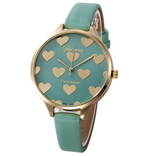 Xinantime Relojes Mujer,Xinan Reloj de Pulsera Analógico de Cuarzo Cuero Imitación (Verde)