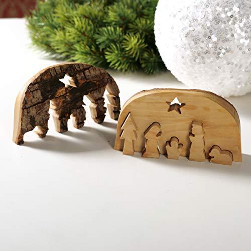 KASSIS Olivenholz Weihnachtsdeko Krippe als Puzzle mit Rinde handgemacht in Bethlehem 11 x 6,50 cm