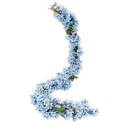JUSTOYOU 2 Stücke 5.7FT Künstliche Sakura Kirschblüte Blumen Hängen Reben Gefälschte Sakura Garland Gefälschte Orientalischen Kirschkranz Hausgarten Party Hochzeit Decor(Blau)