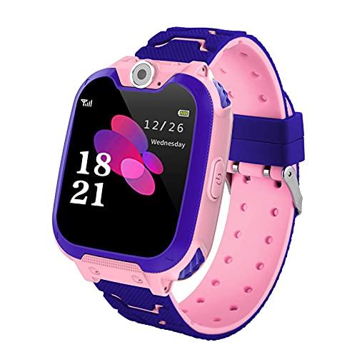 Reloj Inteligente Smartwatch Pulsera Inteligente Niño Llamadas Pulsera HD Pantalla a Color Número de Teléfono La Música Juego Llamada de Voz,Pink
