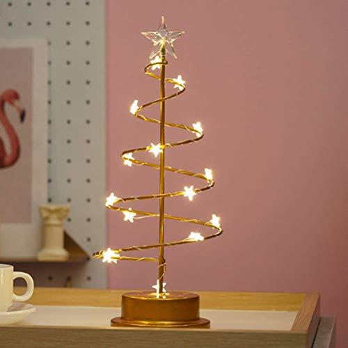 ZSML Crystal Christmas Tree Light Funciona con Pilas Forma de Estrella Marco de Hierro Luz de Noche Lámpara de Escritorio LED Navidad Luz de Noche Decorativa Lámpara de Mesa de Hadas Festival ROM