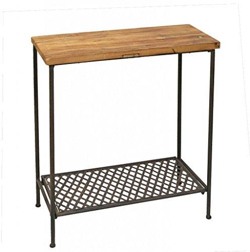 Tisch Beistelltisch Metalltisch Platte aus altem Ulmenholz 79521